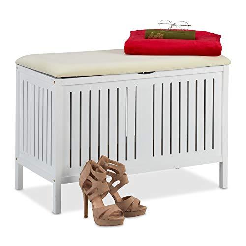 Relaxdays Sitzbank mit Stauraum, gepolstert, 80 l Staufach, Landhausstil, Holz, Sitztruhe HxBxT: 56 x 78 x 39 cm, weiß