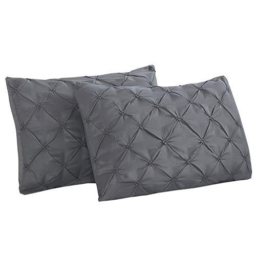 Vaulia Lightweight Microfiber Pillow Shams, Well Designed Pinch Pleat, Standard Size - Grey, Set of 2