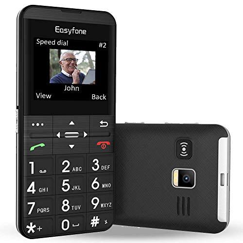 Easyfone Prime-A7 GSM Mobiltelefon Senioren-Handy mit großen Tasten und ohne Vertrag | Hörgeräte kompatibel(HAC) | GPS | Mit Notruf-Knopf und Taschenlampe und Ladestation - Schwarz