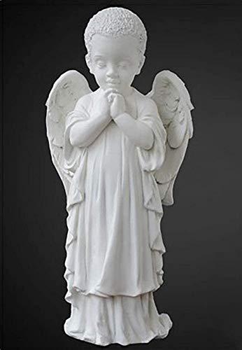 XHCP Figuras de querubín Rezando de pie, alas de niño para Interiores y Exteriores, CS, mármol, decoración del hogar, Boda, Navidad, K 29x13x11cm (11x5x4 Pulgadas)
