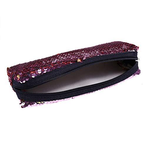 Yukong Trousse à maquillage à paillettes réversible pour filles et femmes - - 1 pcs