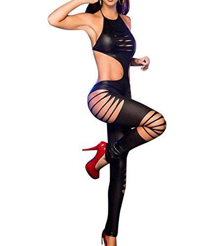 ZEZKT Damen Dessous Body Einheitsgröße Bodysuit Nachtwäsche Rückenfrei Bodystocking Netz Babydoll Minikleid Hohle Blumen Jumpsuit Frauen Erotik Dessous Set Transparent Bügel (One Size, Schwarz)