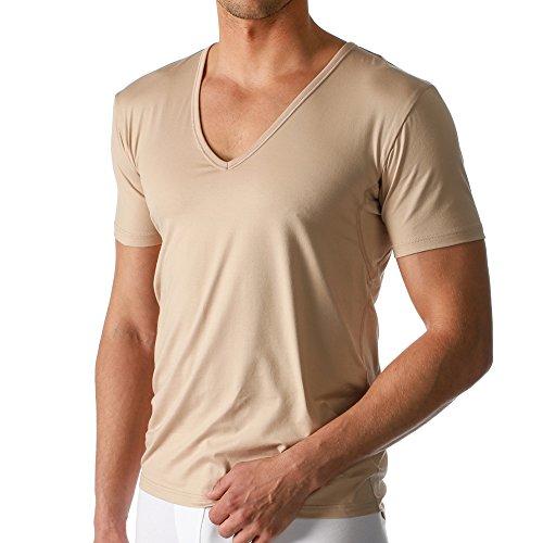 2er Pack Mey Herren Business Unterhemd – Größe 6 – Skin - Drunterhemd – Unterhemd mit V-Ausschnitt – Shirt mit Einsätzen unter den Achseln – 46038 Dry Cotton Functional