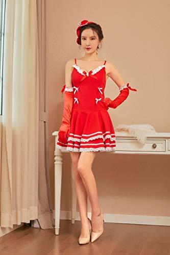 MEN.CLOTHING-LEE Erotische Damen-Höschen Bekleidung & Schuhe für Modepuppen Sexy Dessous niedlich Prinzessin Kleid sexy Weihnachtskostüm Cosplay Dienstmädchen Uniform Versuchung Anzug-red_one Größe