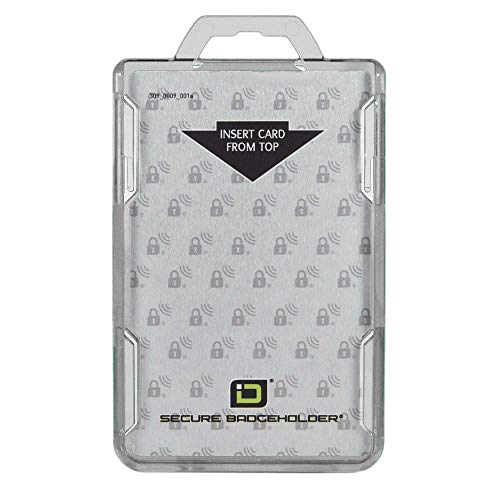 ID Stronghold - RFID Blocking Secure Badge Holder - Duolite 2 Card ID Holder - Poly Carbonate - Heavy Duty Hard Plastic ID Badge Holder - USA Molded and Assembled - FIPS 201 Approved - Clear