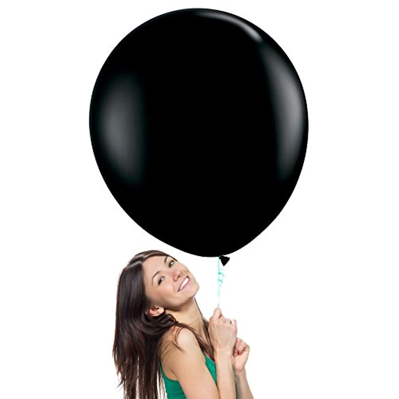 36 Inch Giant Jumbo Latex Balloons (Premium Helium Quality), Pack of 3, Regular Shape - Onyx Black