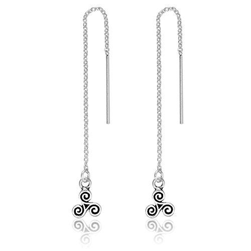 DTPsilver - Damen - Ohrringe Ohrhänger Durchzieher Kette 925 Sterling Silber Keltisch Triskele