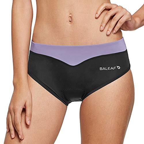 BALEAF Women's 3D Padded Cycling Underwear Bike Shorts Brief Biking Mountain Bike High Waitsband Taro Purple line Size M