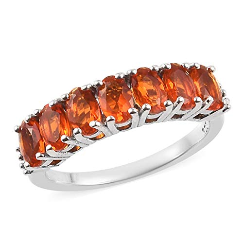 TJC Half Eternity Fire Opal Ring for Women Platinum Plated 925 Sterling Silver White Diamond Size R, 0.7 Ct