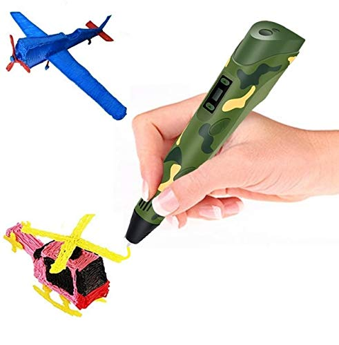 Boligrafo de Impresion 3D - Lapiz Pluma con 3 Colores Filamento PLA 9M - Un Boli Profesional para Dibujar en 3D y Hacer Manualidades - Pen 3D - Regalo para Niños y Adultos - Color Verde Camuflaje