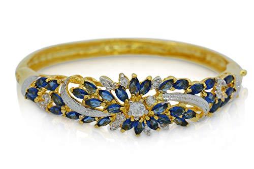 Montip Lynn Brazalete chapado en oro amarillo de 24 quilates para mujer, rara flor tailandesa, circonita cúbica Cz AAA Syn azul zafiro brazaletes brazalete 5 mm 5,5 cm
