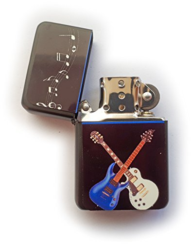 Stoneys Badges Crossed Guitars accendino a benzina in stampato della free UK post musica rock and roll status Quo