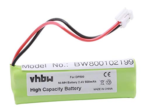 vhbw NI-MH Akku 500mAh (2.4V) passend für Festnetz Telefon Medion MD83242, MD83282 ersetzt VT50AAAALH2BMJZ, GP1010, GPHC05RN01.