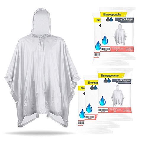TK Gruppe Timo Klingler 20x Einweg oder Einmal Regenponcho und Regencape - transparent & durchsichtig & portabel, wasserdicht für Damen und Herren (20x Stück)
