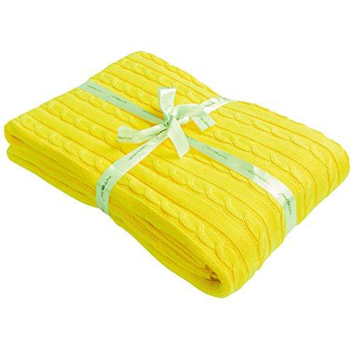 NTBAY Decke Aus Baumwolle Mit Zopfmuster Super Weich Warm Mehrfarbig, 130 x 170 cm, Gelb