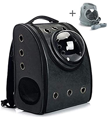 K&D Portable Travel Pet Backpack,Carrier Cat Bubbles Pet Backpack,Waterproof Handbag,Backpack Airline Approved for Small Dogs and Cats (Black)