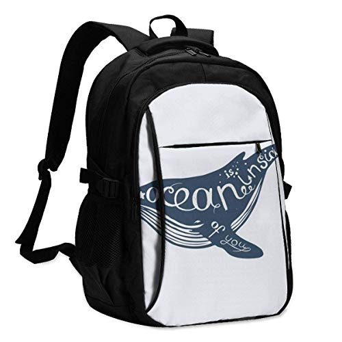 IUBBKI Bolsa para computadora mochila USB Vector Illustration with Whale, Nautical Illustration Office & School Supplies with USB Data Cable and Music Jack Laptop Bags Computer Notebook 18.1X13.3 inch