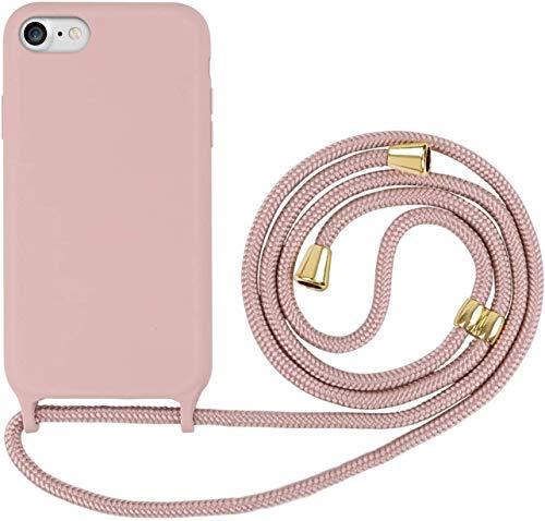 Oihxse - Carcasa compatible con iPhone 7 + Plus y 8 + Plus con correa transparente, funda antigolpes de goma gel de sílice líquido con collar Necklace Back Case de TPU con cordón para el cuello -A4