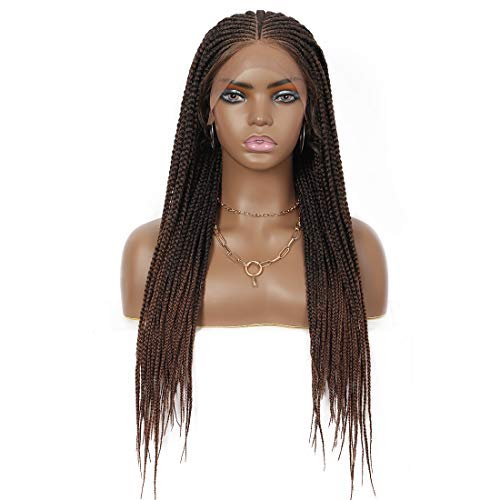 """Beauart 24"""" Fully Handmade 13X5"""" Wide Lace Area Tiny Braided Top Box Braided Wigs for Black Women Synthetic Swiss Lace Front Twist Braids Wigs with Baby Hair Lightweight Braiding Cornrow Wig (Brown)"""