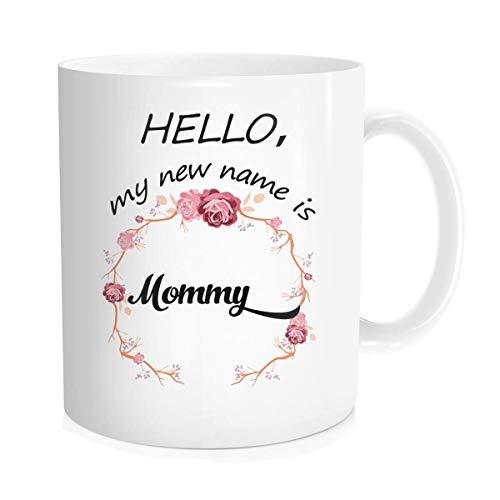Waldeal New Mom Baby Shower Regalo para el día de la madre Cumpleaños Anuncio de embarazo Hello My New Name is Mommy Taza de café de cerámica de hueso fino blanco 11 oz