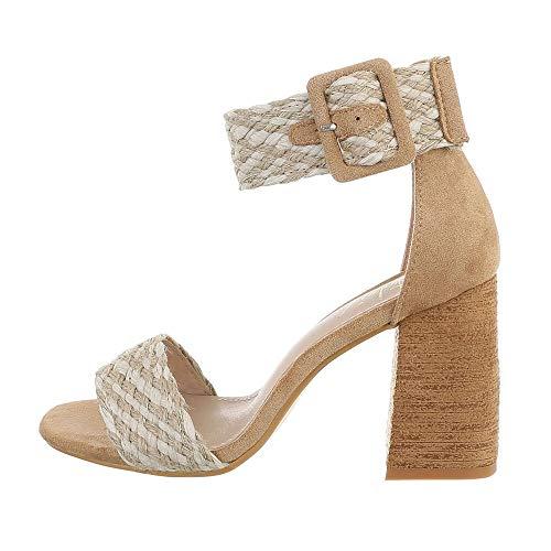 Ital-Design Damenschuhe Sandalen & Sandaletten High Heel Sandaletten, L1306-, Synthetik, Beige, Gr. 39