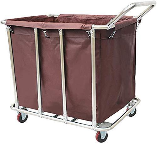 Wheeled Wäschewagen, Haushalt Storage Rack Trolley, Edelstahl mit einem Griff Kleinwagen, Practical Stil (Farbe: braun) (Color : Brown)