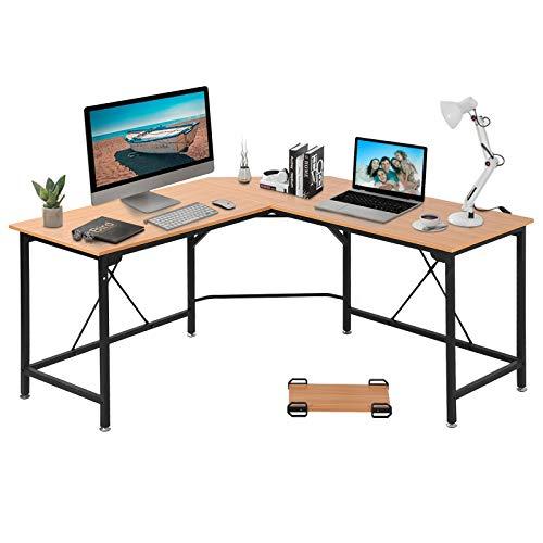 GRANDMA SHARK Corner Desk, L-Shaped Gaming Desk, Computer Desk, PC Desk, Computer Table, Office Desks for Home Working or Study (Beech, 140×140×75 cm)