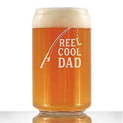 Reel Cool Dad - Beer Can Pint Glass - Funny Fishing Gifts for Fisherman Dads - Fun Fish 16 oz Cups