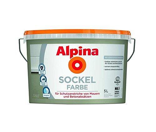 Alpina 5 L. Sockelfarbe, Abrieb und Reinigungsfähig, speziell für Sockel und Betonabsätze, Grau Matt