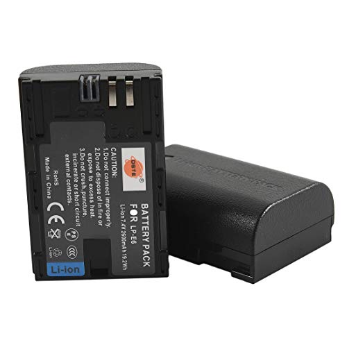 DSTE LP-E6 - Batería de ion de litio compatible con Canon EOS 5D Mark II, EOS 5D Mark III, 7D MarkII, 7D MarkIII, EOS 5DS, EOS 6D, EOS 7D, EOS 60D, EOS 60Da, EOS 70D (2 unidades)