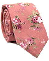 DAZI Men's Skinny Tie Floral Print Cotton Necktie, Great for Weddings, Groom, Groomsmen, Missions, Dances, Gifts. (Desire)