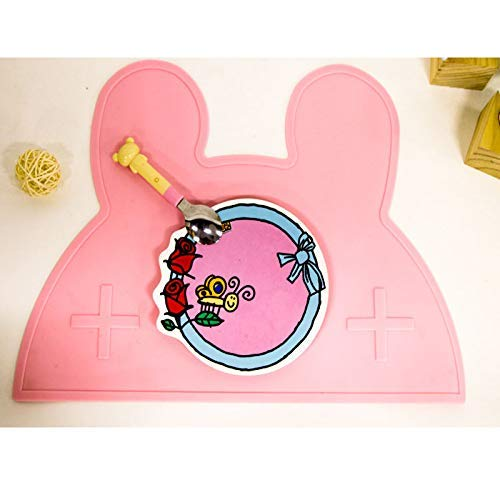 Jilisay Loozoom rutschfeste Silikon-Unterlage for Haustiere, Katzen, Hunde, Welpen, wasserdicht, for Babys und Kinder, Tragbare Essensunterlage for Kleinkinder (Color : Rose)