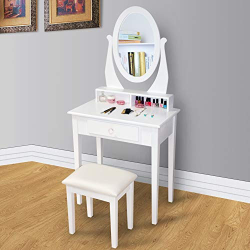GLS Makeup Dressing Table with Oval Mirror 3-Piece Vanity Set for Women -