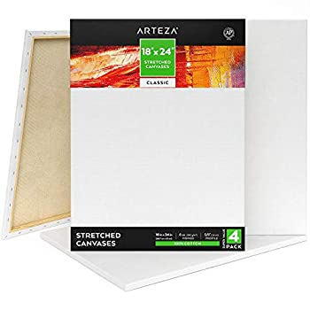 Arteza Stretched Canvas Pack of 4 18 x 24 Inches Blank White Canvases 100% Cotton 8 oz Gesso-Primed Art Supplies for Acrylic Pouring and Oil Painting