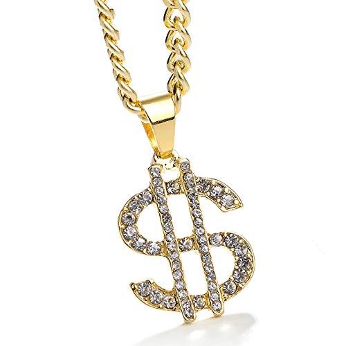 Collar De Hombre De Dólar En Forma DeS Código DeDiamantes De Imitación De Diamantes De Hip Hop