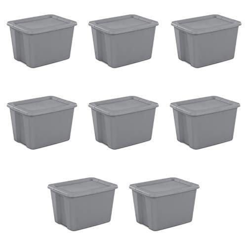 Sterilite 18 Gallon Tote Box- Steel, Set Of 8