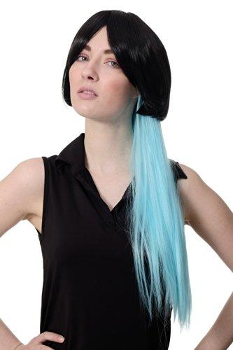 WIG ME UP - Perruque cosplay sexy girl carré noir, court & long, noire, queue de cheval bleu clair, cyan SA074-2HTF2513