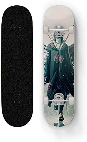 Vbnmda Monopatín para Sasuke Uchiha Adecuado para Adolescentes Principiantes Niños y Adultos Siete Capa Mapate Skateboard Freestyle Tablero Corto Mini Tablero de Carretera Xiao1230.
