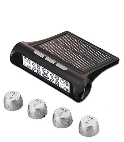 KUNFINE Reifendruckkontrollsystem TPMS Reifendruckmesser Reifendruckkontrolle mit 4 Sensoren Reifendruck-und Temperatur anzeigen + intern Solarzelle für Wohnmobil Auto KFZ usw