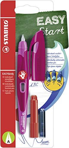 Ergonomischer Schulfüller für Rechtshänder mit Anfänger-Feder A - STABILO EASYbirdy in beere/pink - Einzelstift - inklusive Patrone und Einstellwerkzeug - Schreibfarbe blau (löschbar)