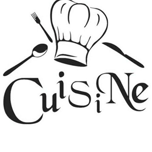 Sunlera Pared de la Cocina decoración de la Etiqueta Pegatinas de Cocina du Chef francés Vinilos Adhesivos Papel Pintado Etiqueta engomada Mural de la Pared