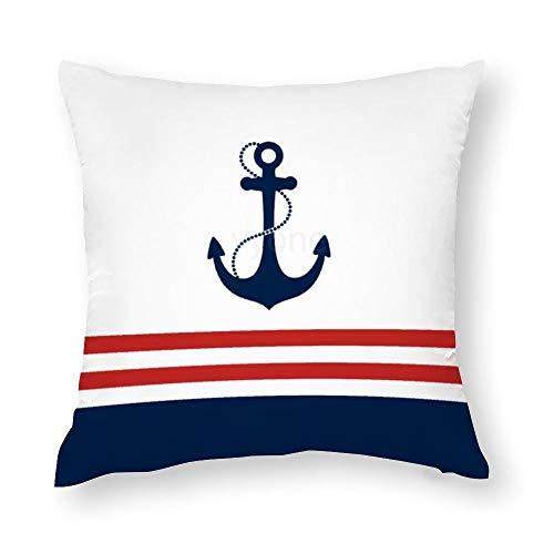 VinMea - Federa decorativa per cuscino decorativo con ancora nautica, in cotone, per divano e poltrona, 45 x 45 cm