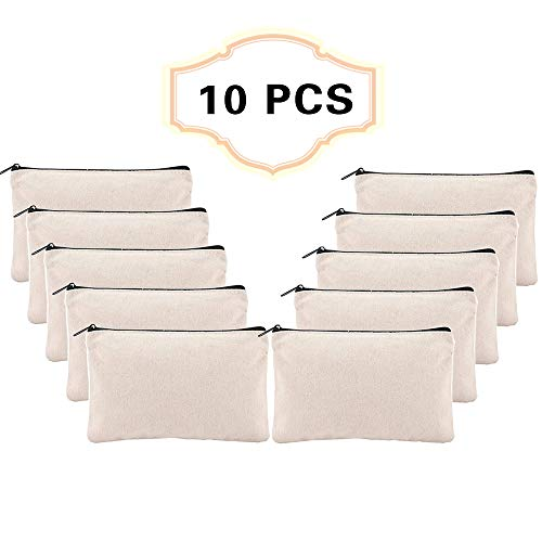 10 PCS Canvas Make Up Bags,Canvas Zipper Bags,Canvas Pencil Pouch with Black Zipper for Travel,Cosmetic,Pencil Case,Party Gift Bags,Craft and Coins Purse and DIY Craft School