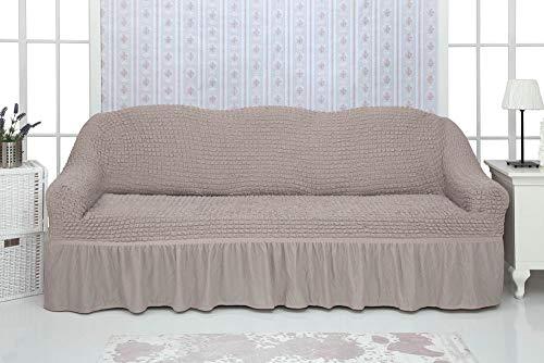 Mixibaby Sofabezug Sofahusse Sesselbezug Sitzbezug Sesselüberwurf Stretchhusse Sofahusse, Farbe:Taupe, Hussen Model:Fiora Dreiersitz Sofahusse