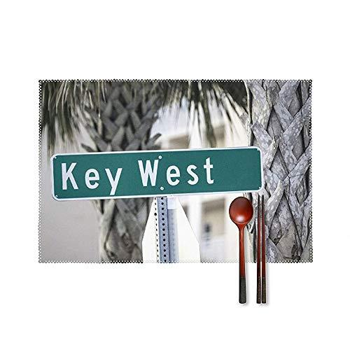 SedExd Un Juego de 4 manteles Individuales Mesa Hogar Jardín Barbacoa Posavasos para Exteriores Decorativo Blanco 45x30cm,Lavable Resistente al Calor Antideslizante Mantel de Mesa-Key West Sig
