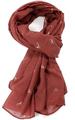 GlamLondon - Sciarpa a forma di cervo, con brillantini, colore: oro rosa Ruggine L