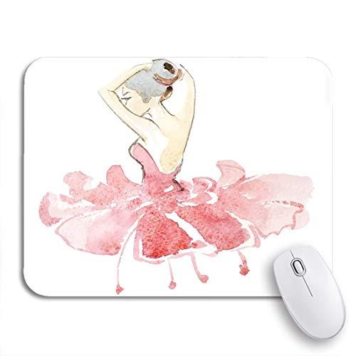 Gaming mouse pad ballett aquarell ballerina im farbigen kleid tänzerin mädchen zeichnung rutschfeste gummi backing computer mousepad für notebooks maus matten