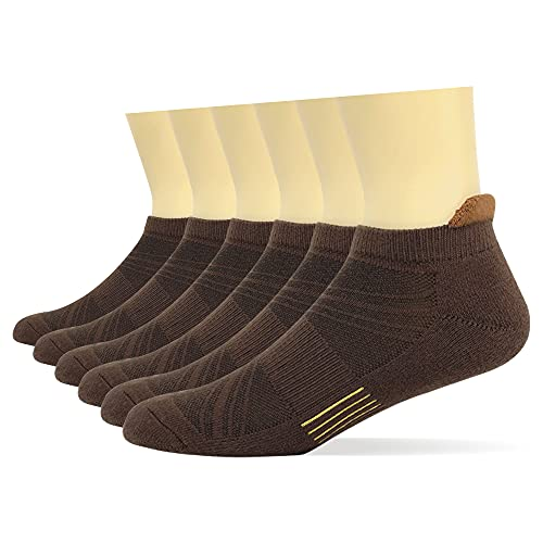 Men's Low Cut Athletic Moisture Wicking Cushion Ankle Tab Socks 6 Pair Pack(Brown,US Shoe Size 6-11)