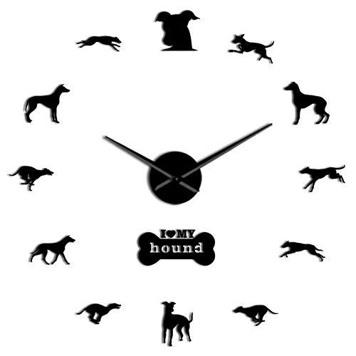 YQMJLF Reloj Pared DIY 3D Grande Adopción de Galgos 3D Whippet DIY Reloj de Pared silencioso Gigante Galgo decoración del hogar Reloj de Pared de Raza de Perro Regalo Amantes de los Perros Neg