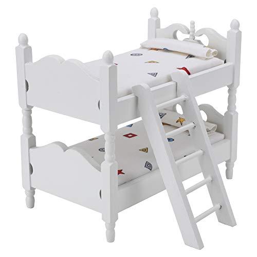 Pinsofy Puppen Hausmöbel Queen-Bett Etagenbett 1:12 Hausmöbel Möbel Spielzeug für Puppenhaus(Geometric Patterns)